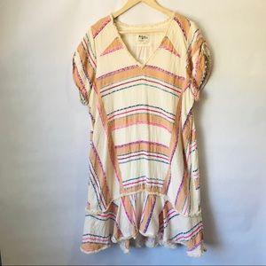 Anthropologie Striped Cream Flounce Dress